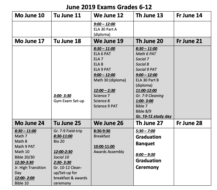 Providence Christian School Society | Final Exams - June 2013